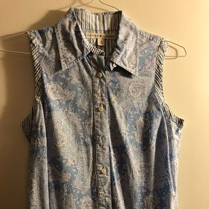 Tommy Hilfiger Paisley Button Down Shirt Blue